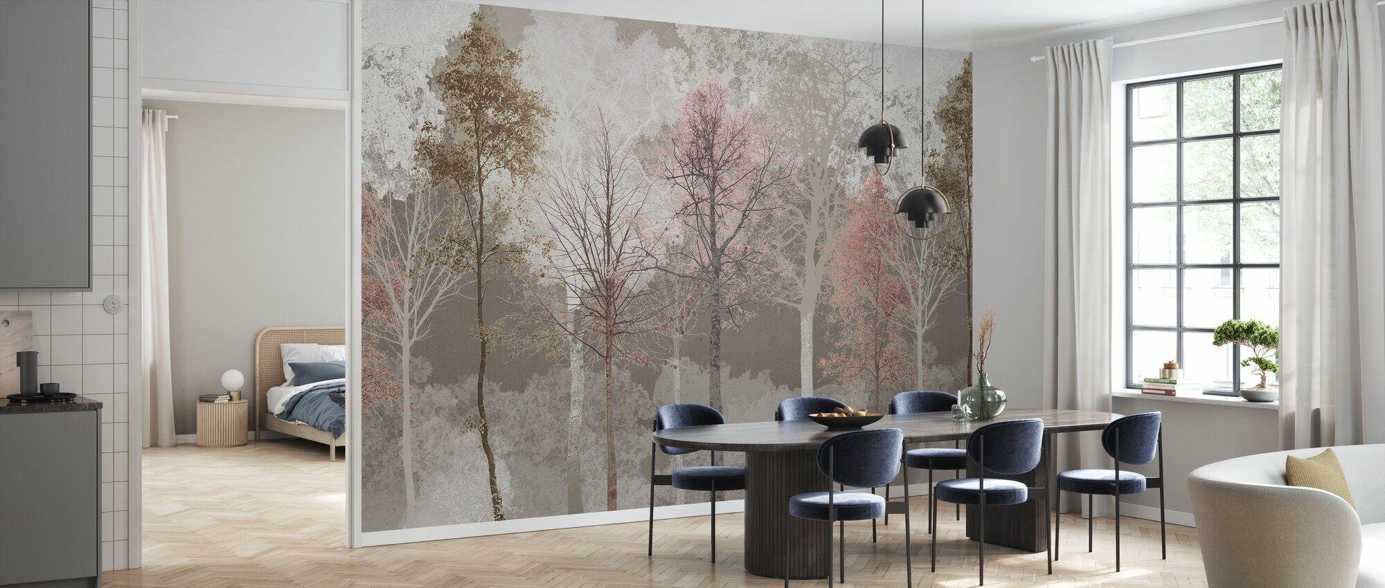 Hidden Bird - Pink Beige - Wallpaper - Kitchen
