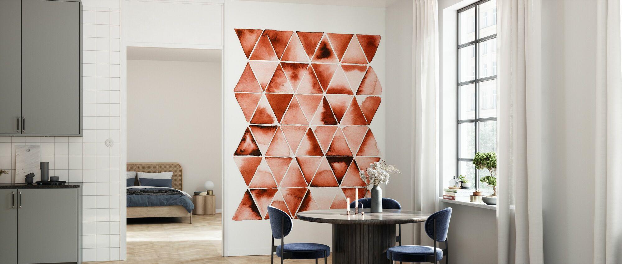 Oranje Driehoeken - Behang - Keuken