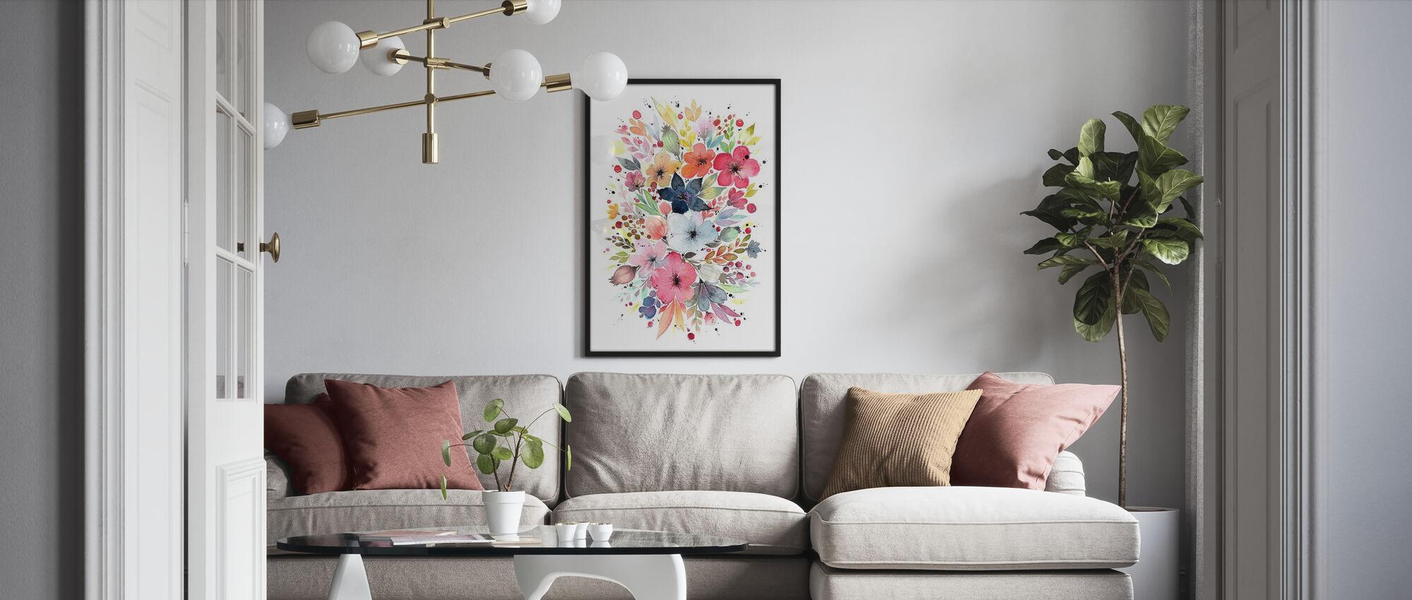 Blomma Bukett - Inramad tavla - Vardagsrum