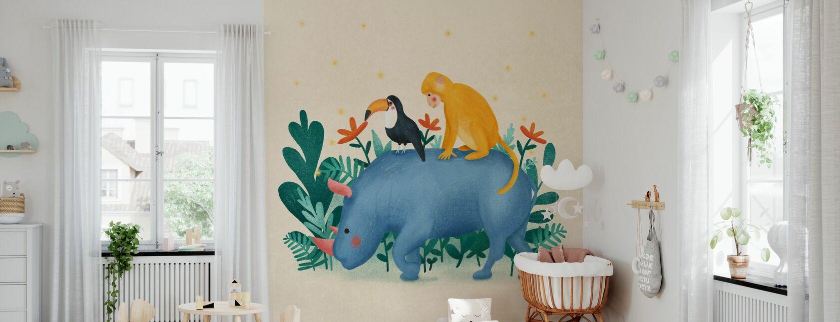Jungle Vrienden - Behang - Babykamer