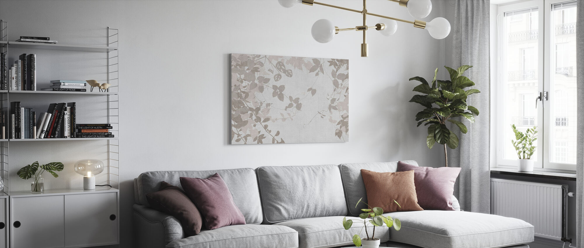 Ivy Forest - Light Brown - Canvas print - Living Room