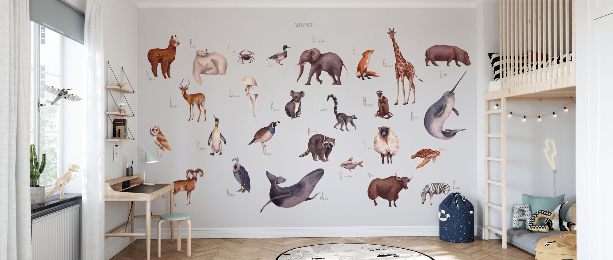Dyr alfabet - lyse - Tapet - Barnerom