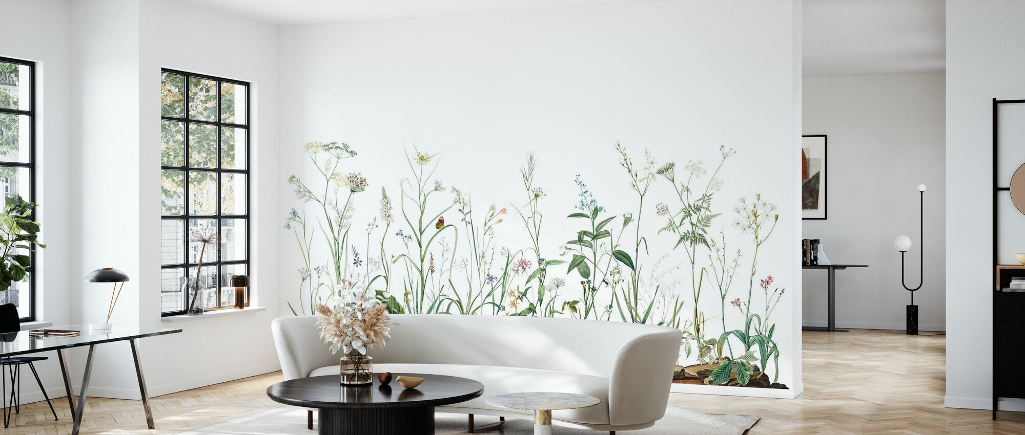 Midsummer Trail - Crisp White - Wallpaper - Living Room