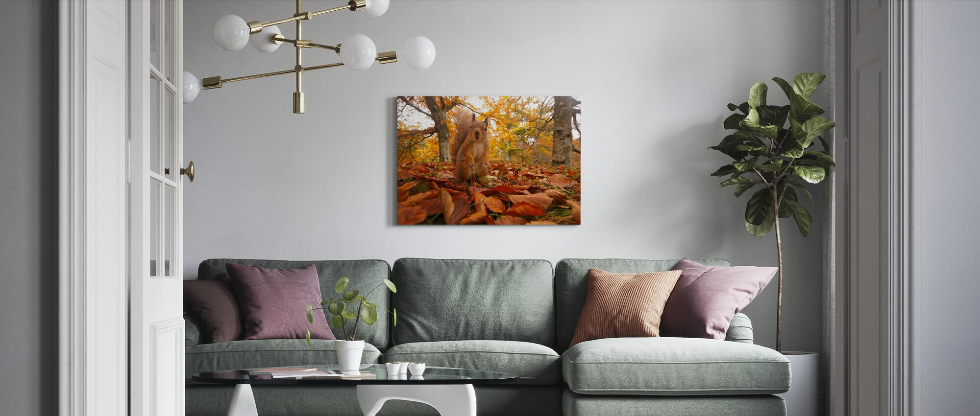 Red Squirrel in Leaf Litter - Canvas print - Living Room