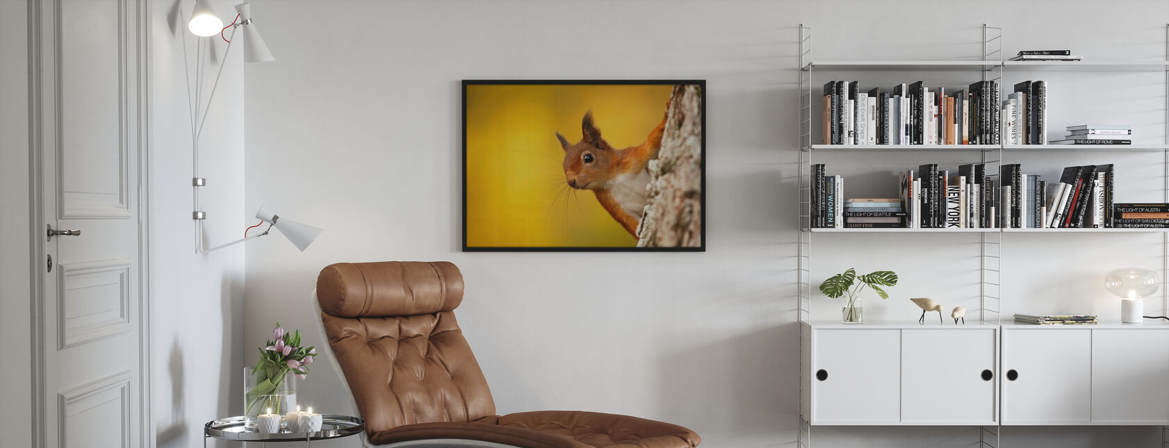 Rødt ekorn med høstfarger - Plakat - Stue