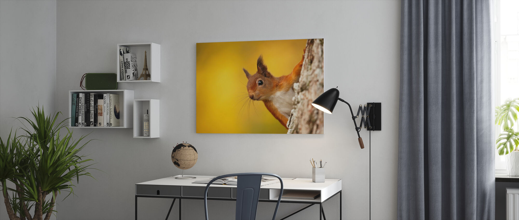 Red Squirrel with Autumn Colors - Canvas print - Office