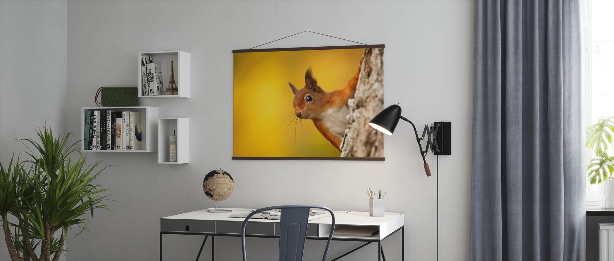 Red Squirrel with Autumn Colors - Poster - Office