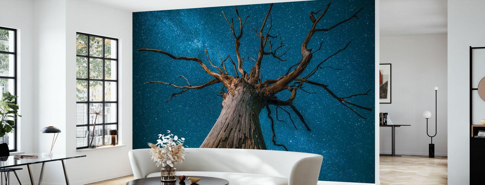 Melkweg en eikenboom - Behang - Woonkamer