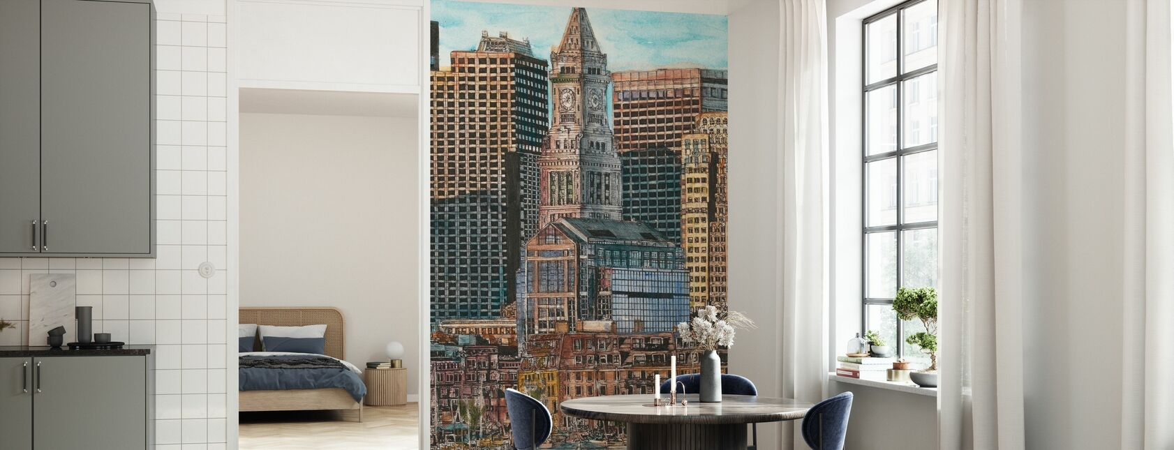 US Cityscape - Boston - Wallpaper - Kitchen