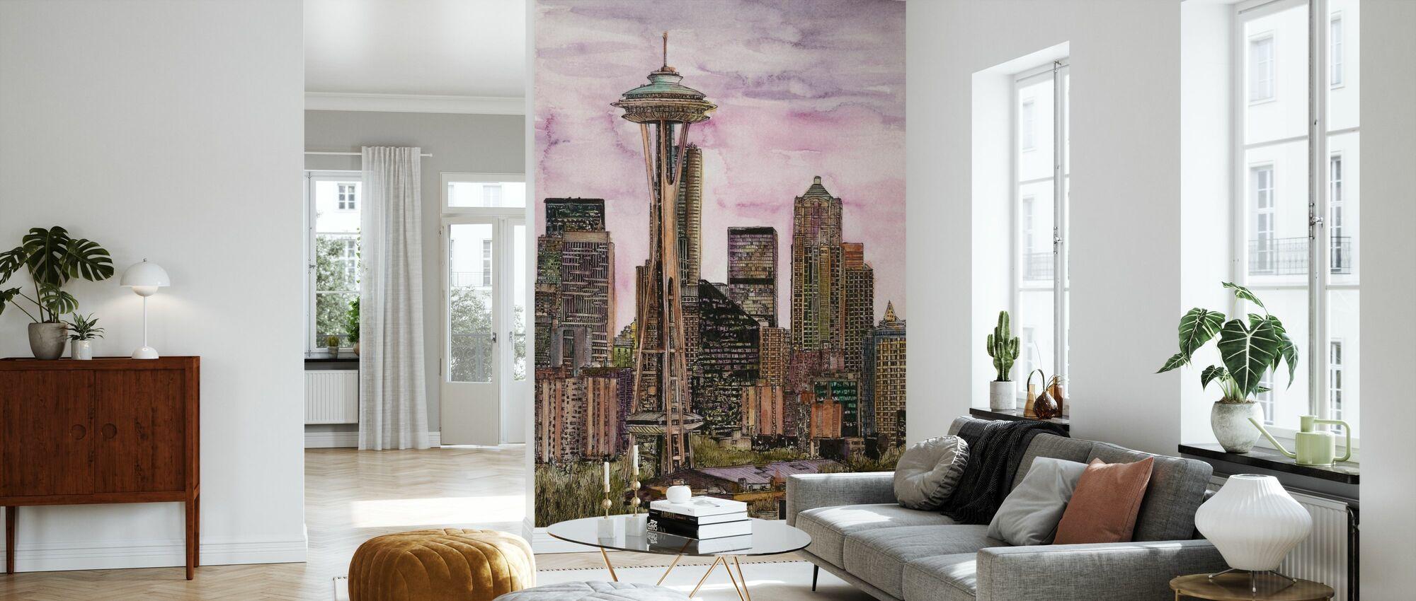 US Cityscape - Seattle - Wallpaper - Living Room