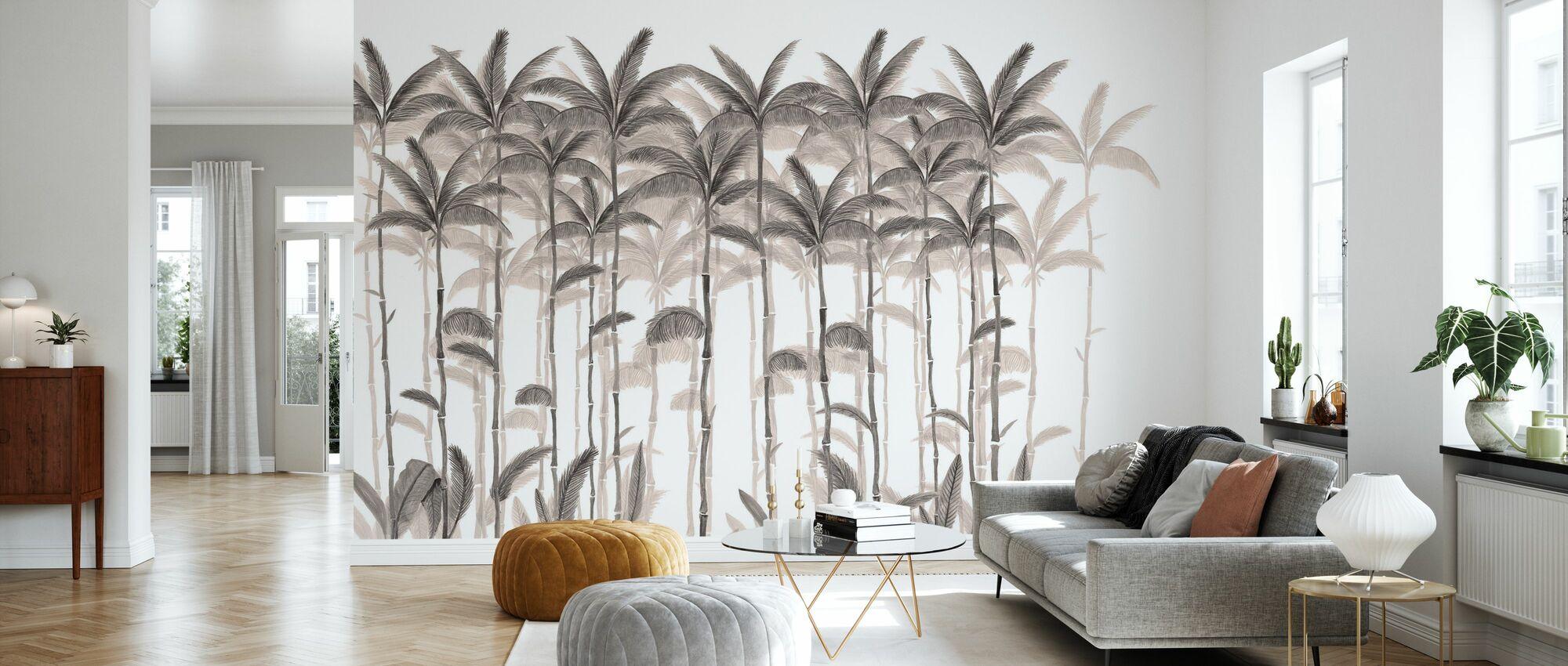 Rijzende palmen - Sepia - Behang - Woonkamer
