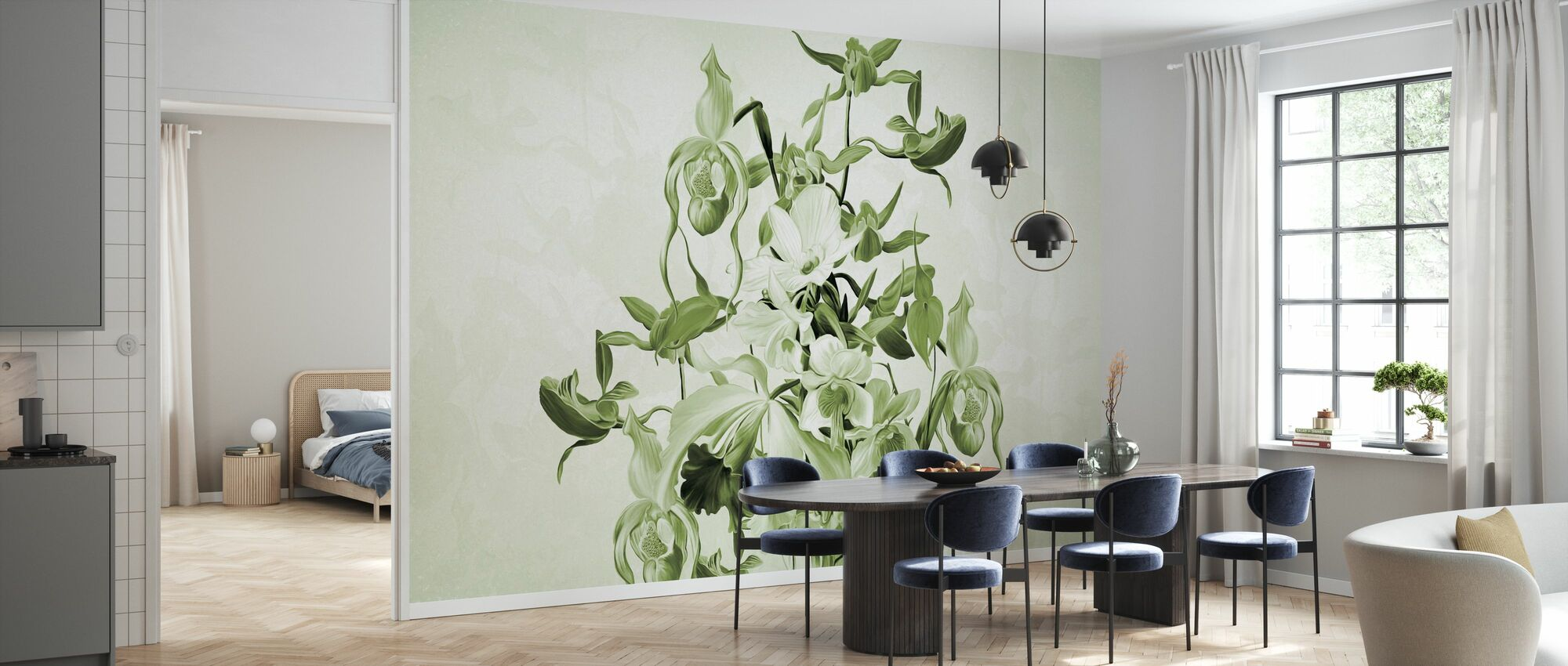 Blooming Orchids - Green - Wallpaper - Kitchen