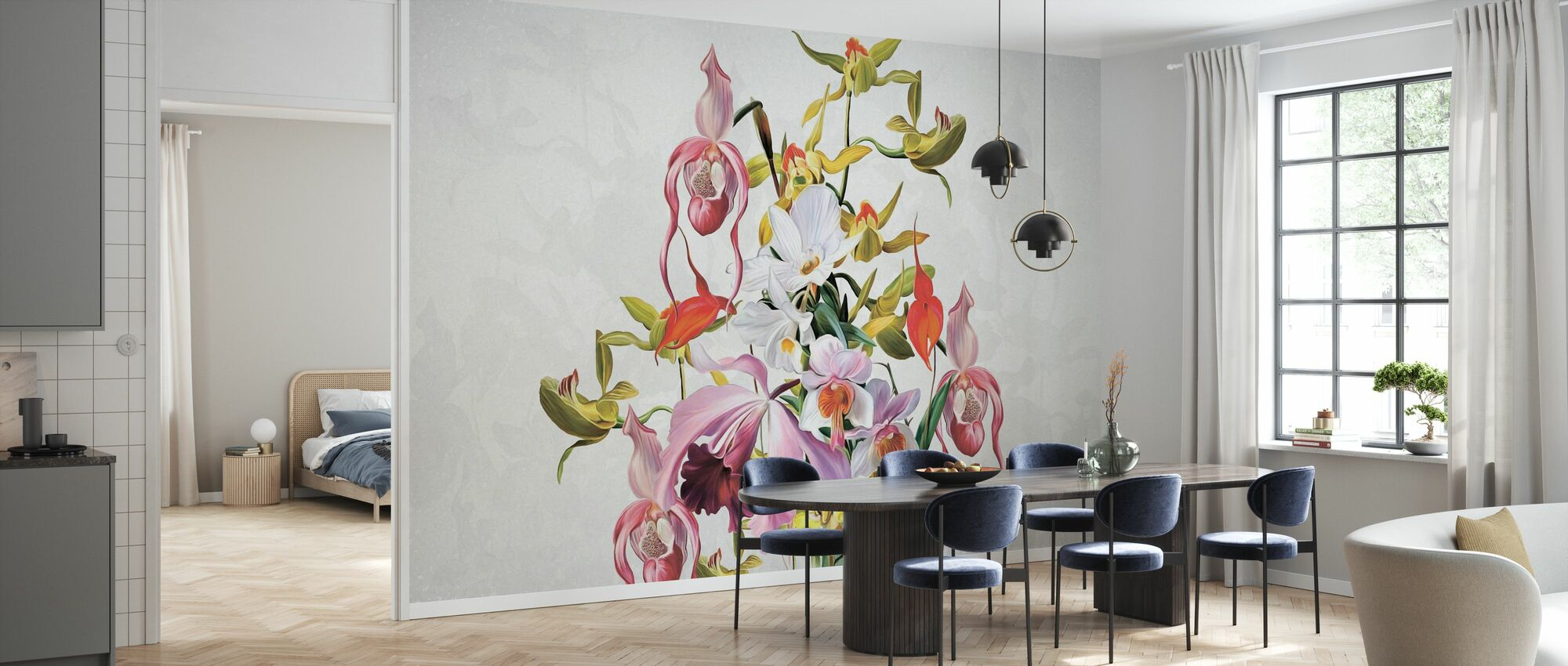 Blooming Orchids - Wallpaper - Kitchen