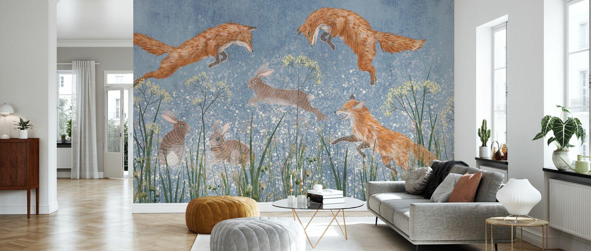 Springen Füchse - Tapete - Wohnzimmer