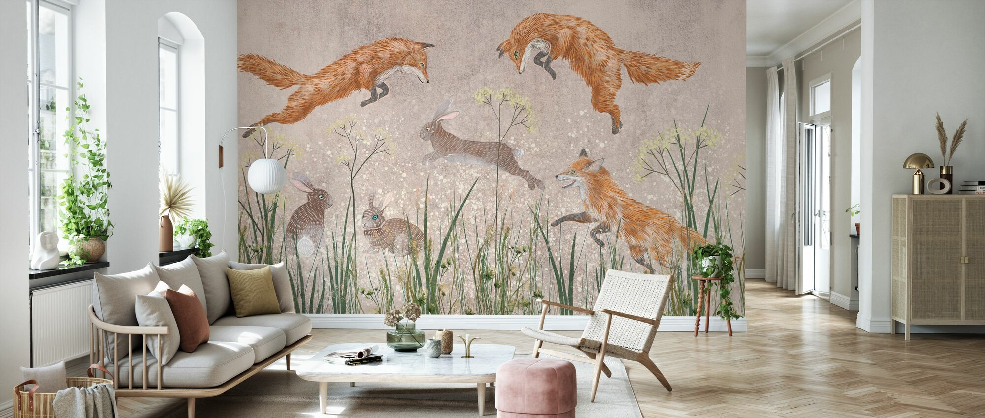 Jumping Foxes II - Wallpaper - Living Room