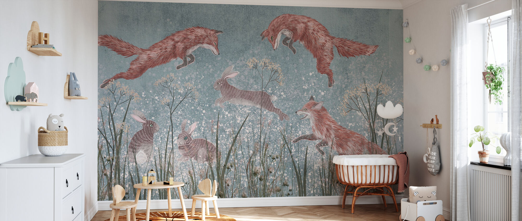 Jumping Foxes III - Wallpaper - Nursery