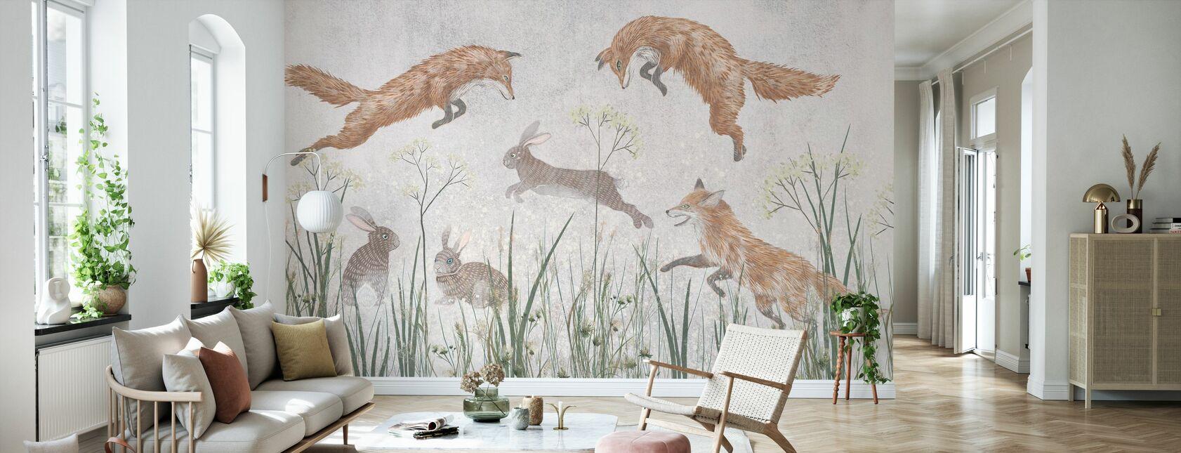 Jumping Foxes IIII - Wallpaper - Living Room