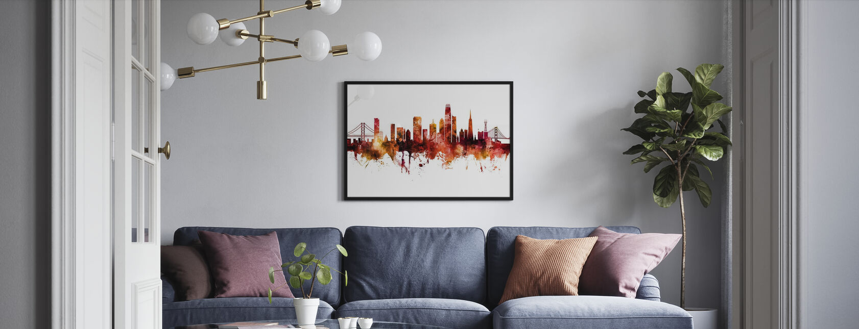 Skyline van San Francisco Californië - Poster - Woonkamer