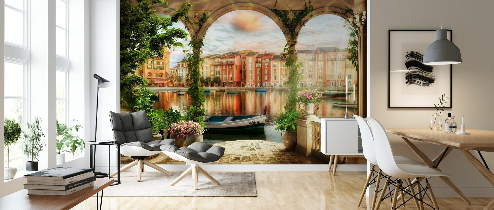 Porch in the Canals of Venice - Wallpaper - Living Room