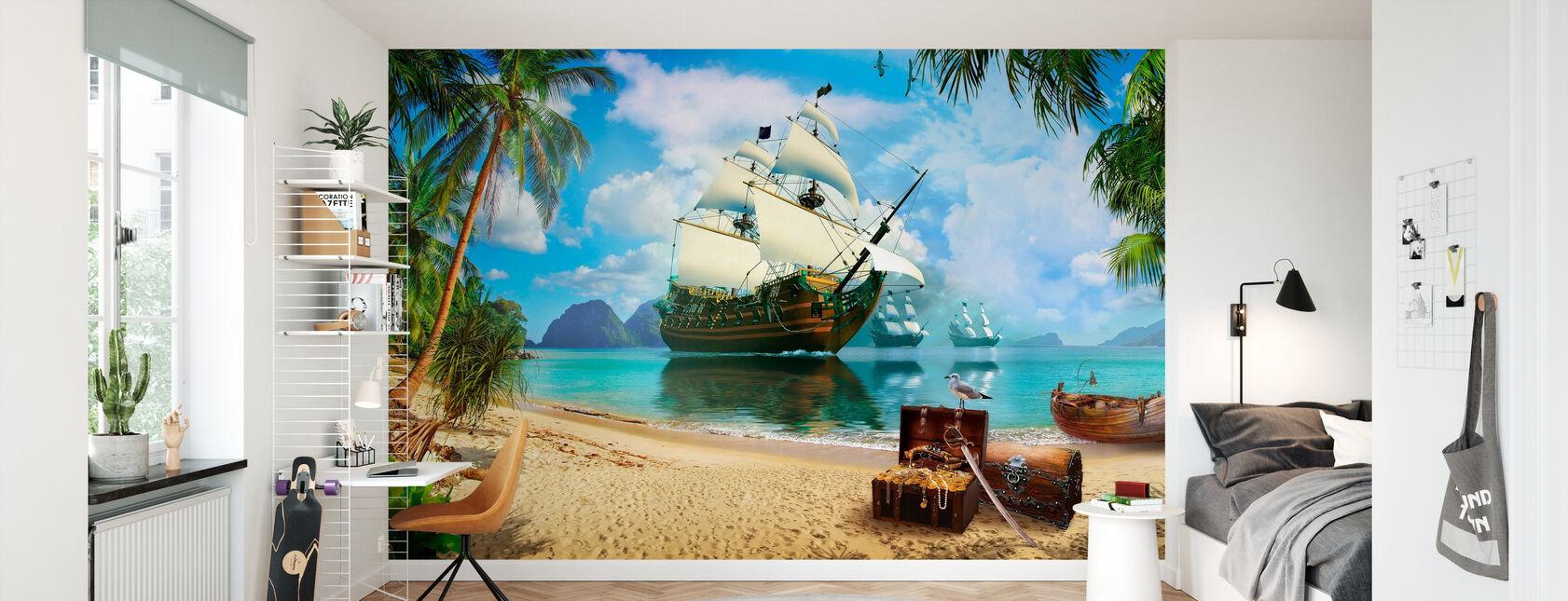 Pirate Treasure Island - Tapet - Barnrum
