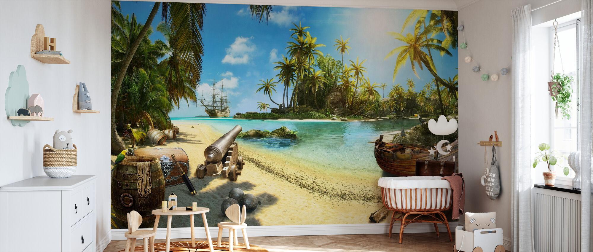 Pirateneiland - Behang - Babykamer