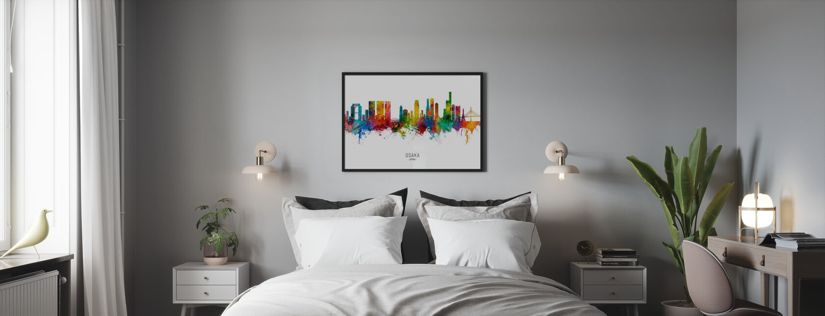 Osaka Japan Skyline - Framed print - Bedroom