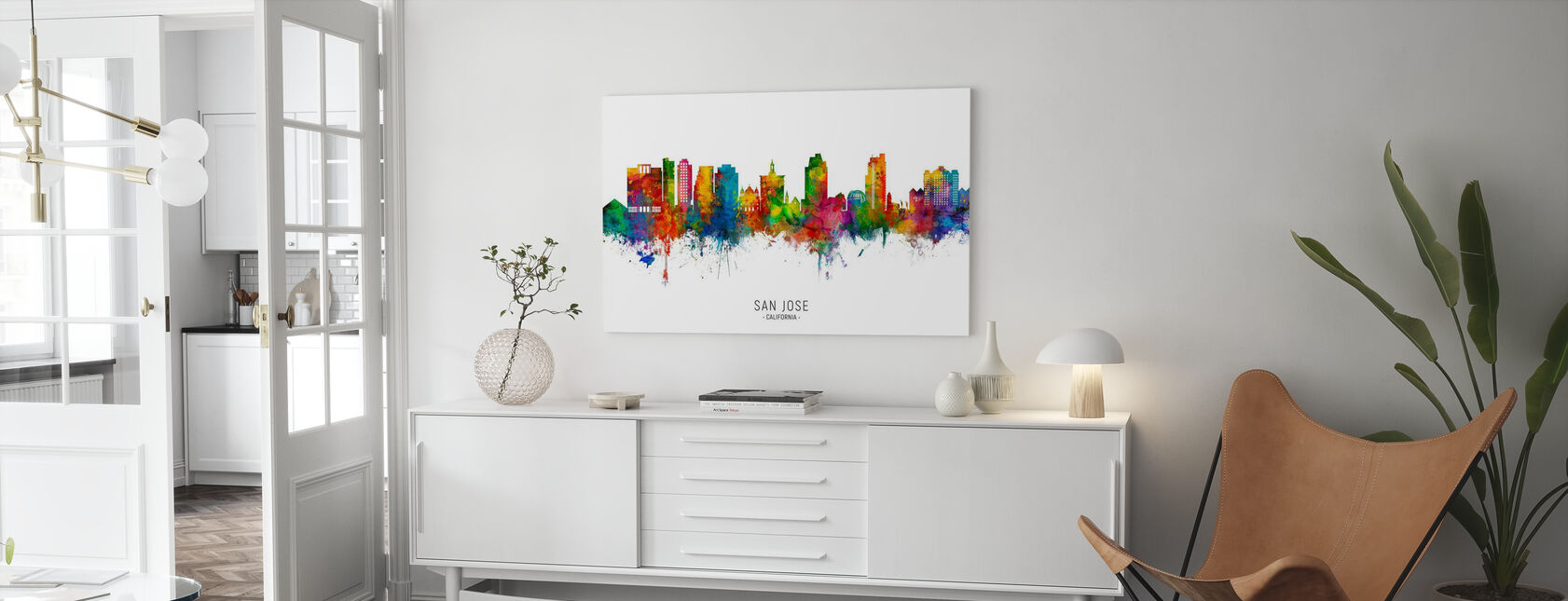 San Jose California Skyline - Canvas print - Living Room