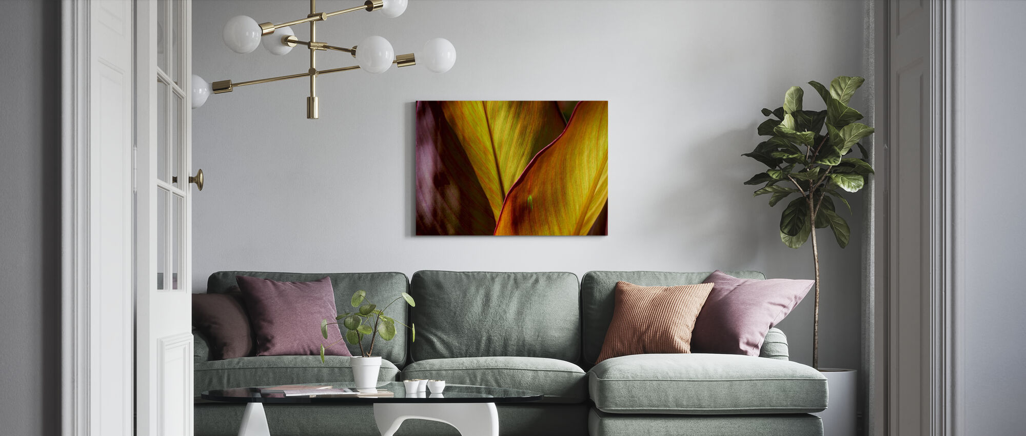 Backlit Leaves - Canvas print - Living Room