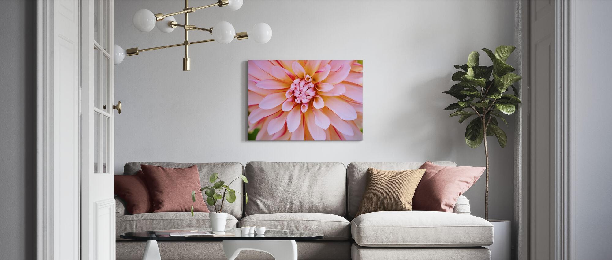Valkoinen Oranssi Dahlia Kukka - Canvastaulu - Olohuone