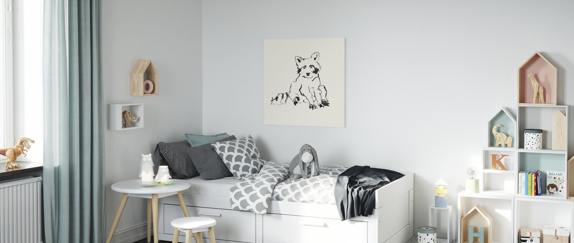 Line Raccoon - Canvas print - Kids Room