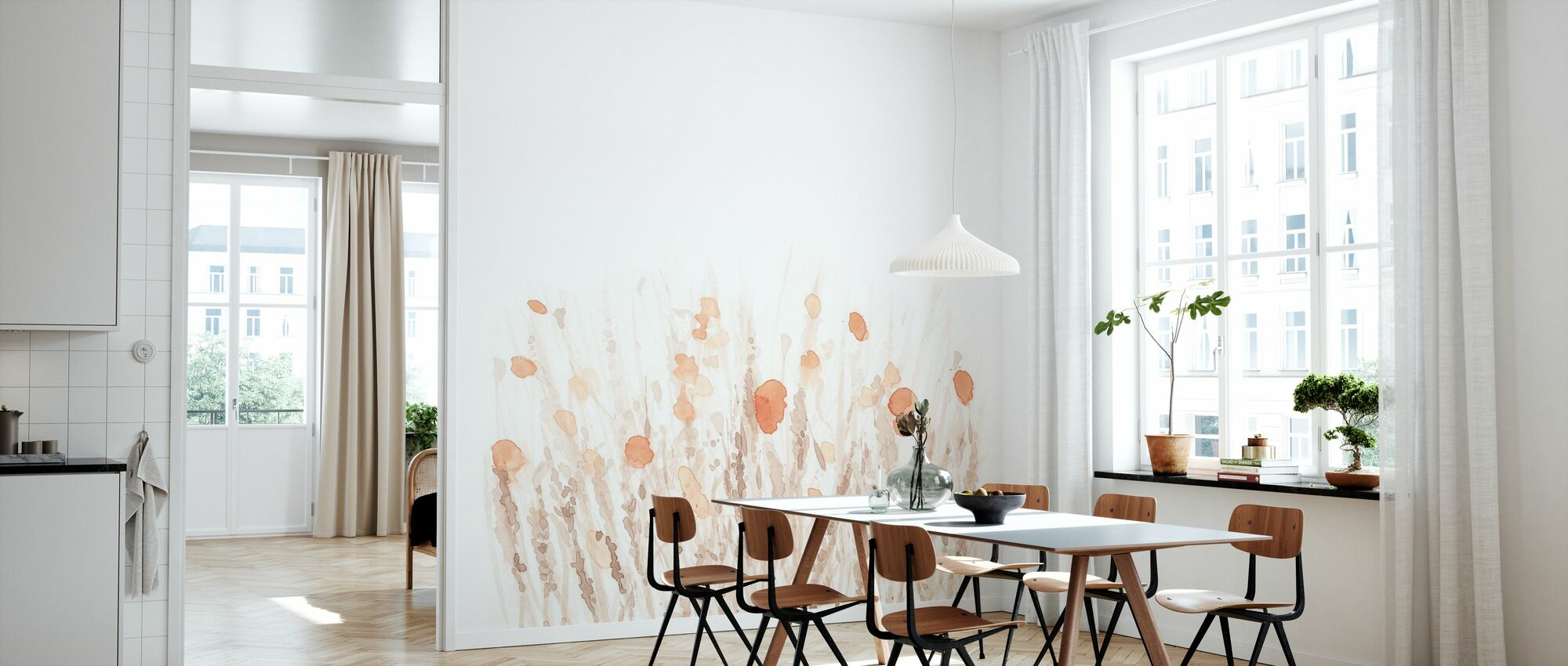 Boho Poppies - Square - Wallpaper - Kitchen