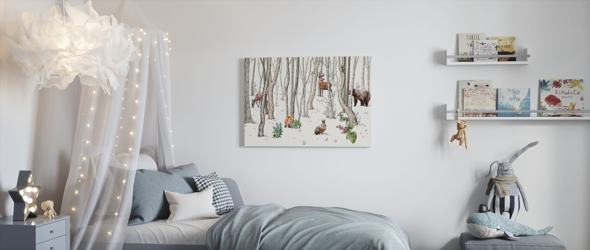 Skogens dyr - Lerretsbilde - Barnerom