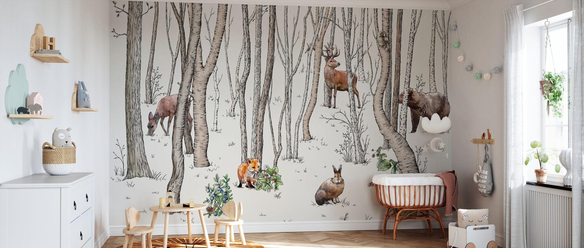 Animaux de la forêt - Papier peint - Chambre de bébé