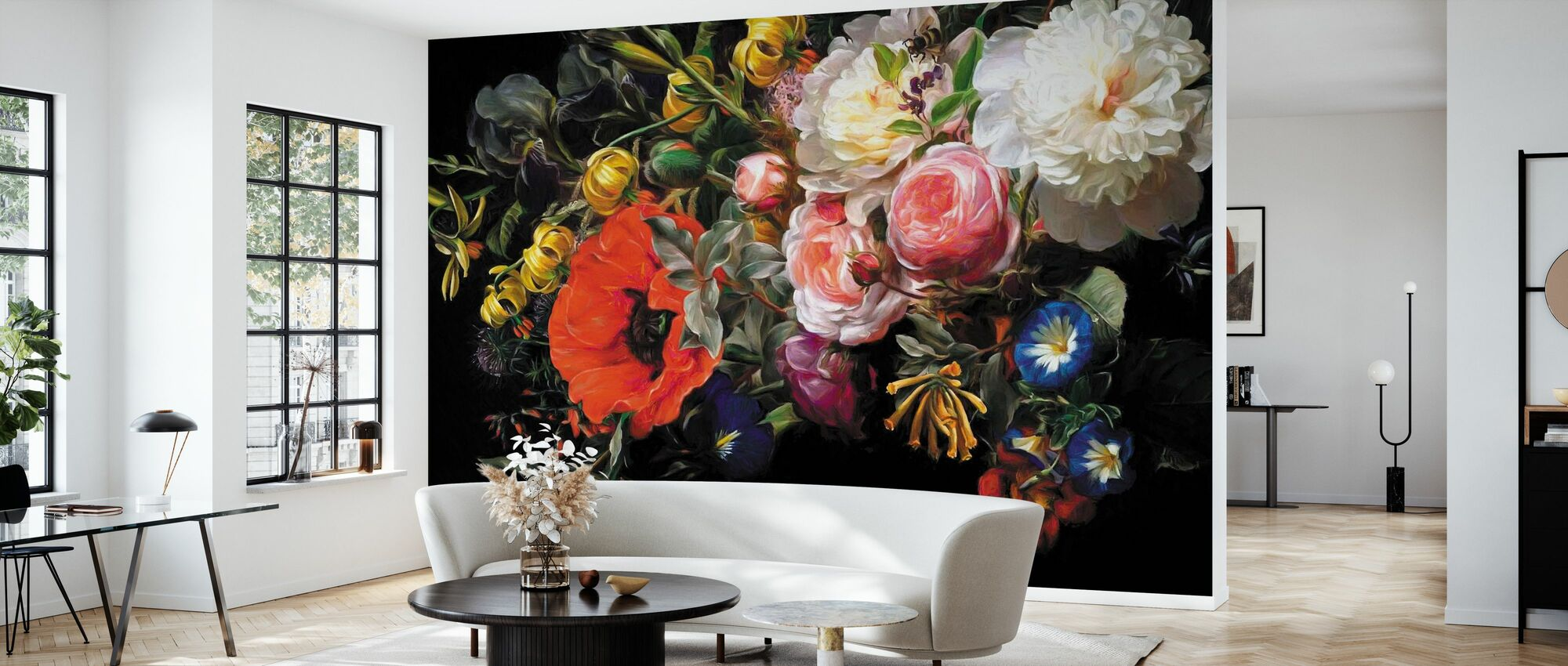 Roses and Poppies - Wallpaper - Living Room