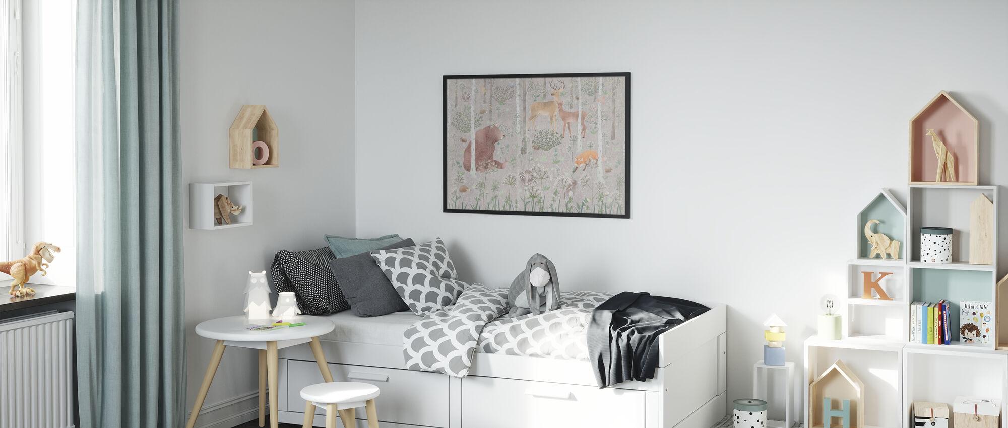 Wildlife - Gray - Poster - Kids Room