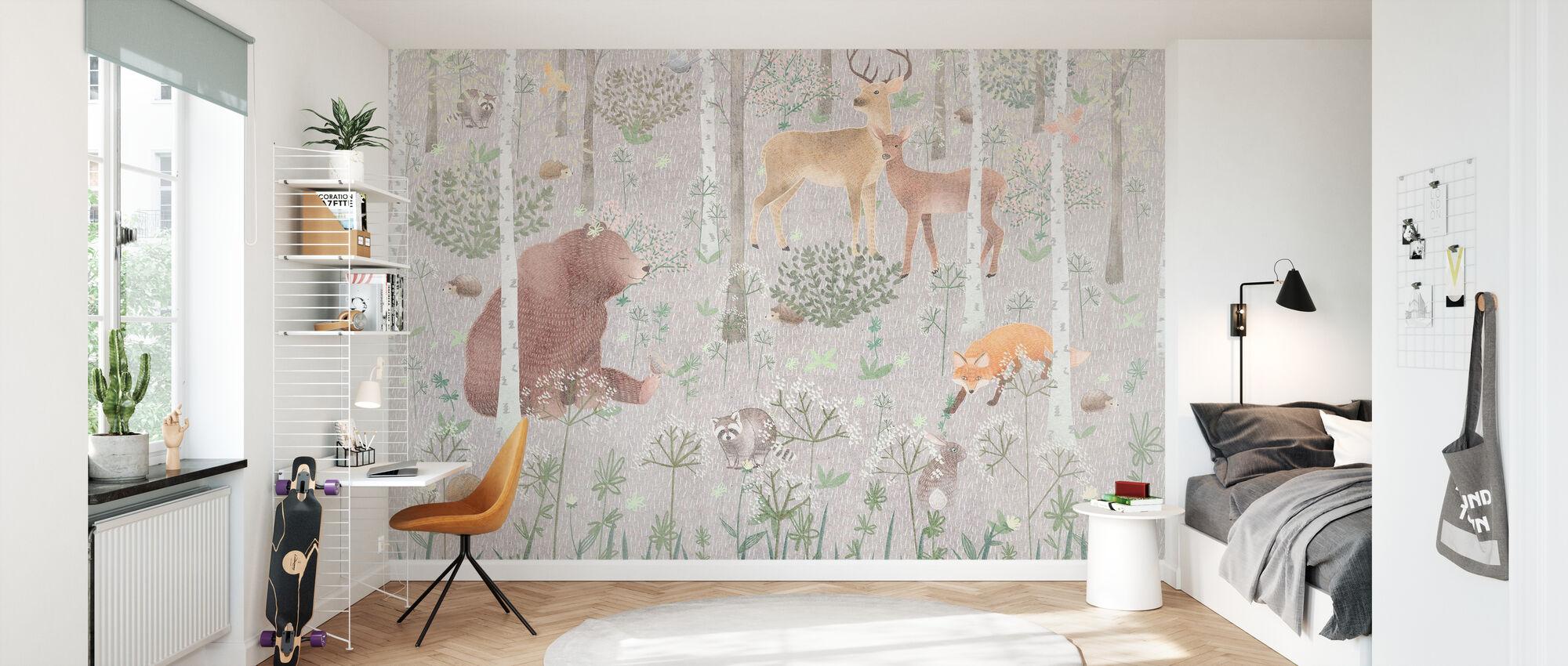 Wildtiere - Grau - Tapete - Kinderzimmer