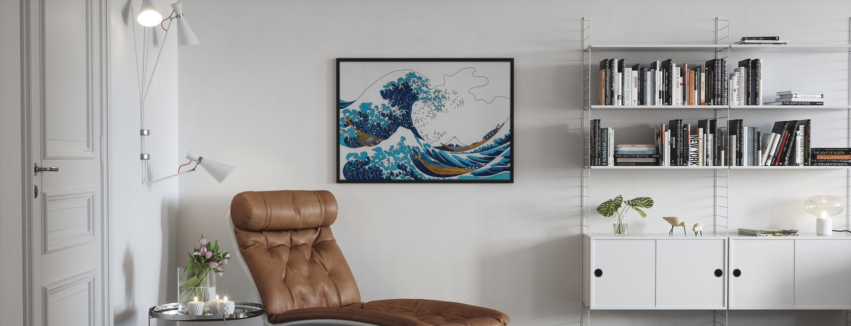 Grote Golf van Kanagawa - Ingelijste print - Woonkamer