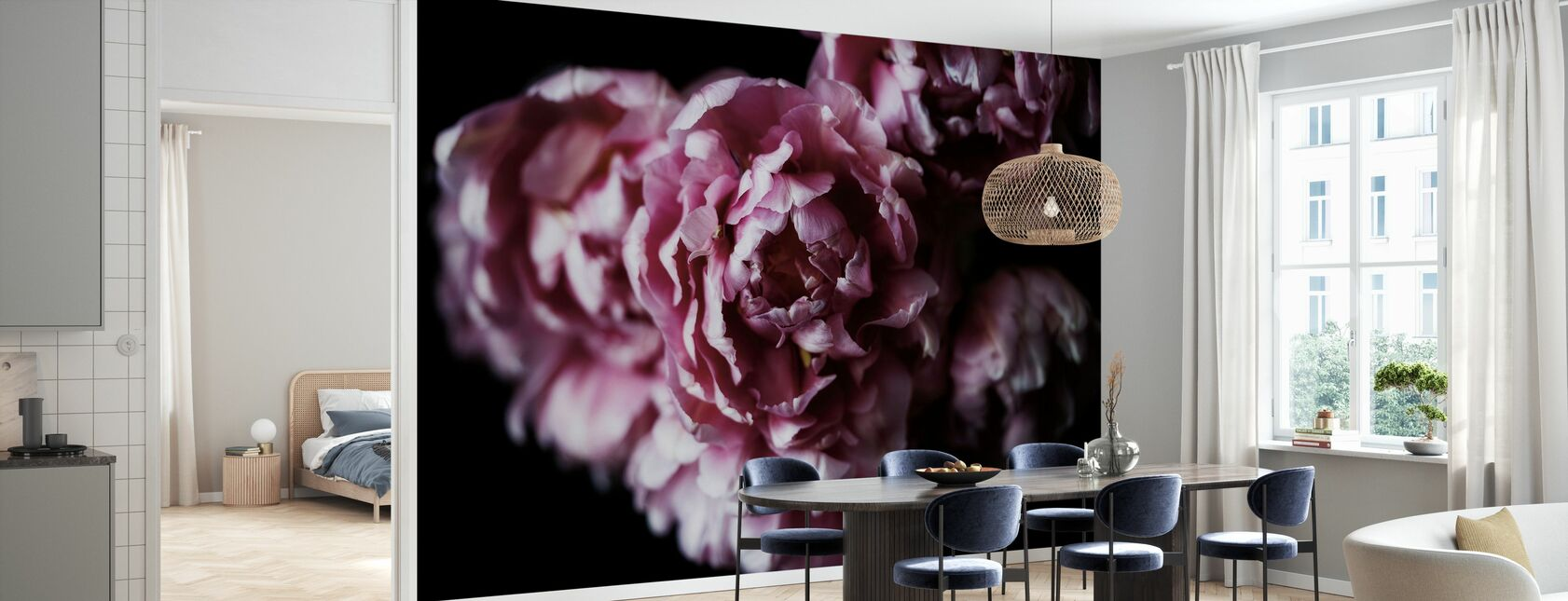 Rosa doble tulipaner - Tapet - Kjøkken