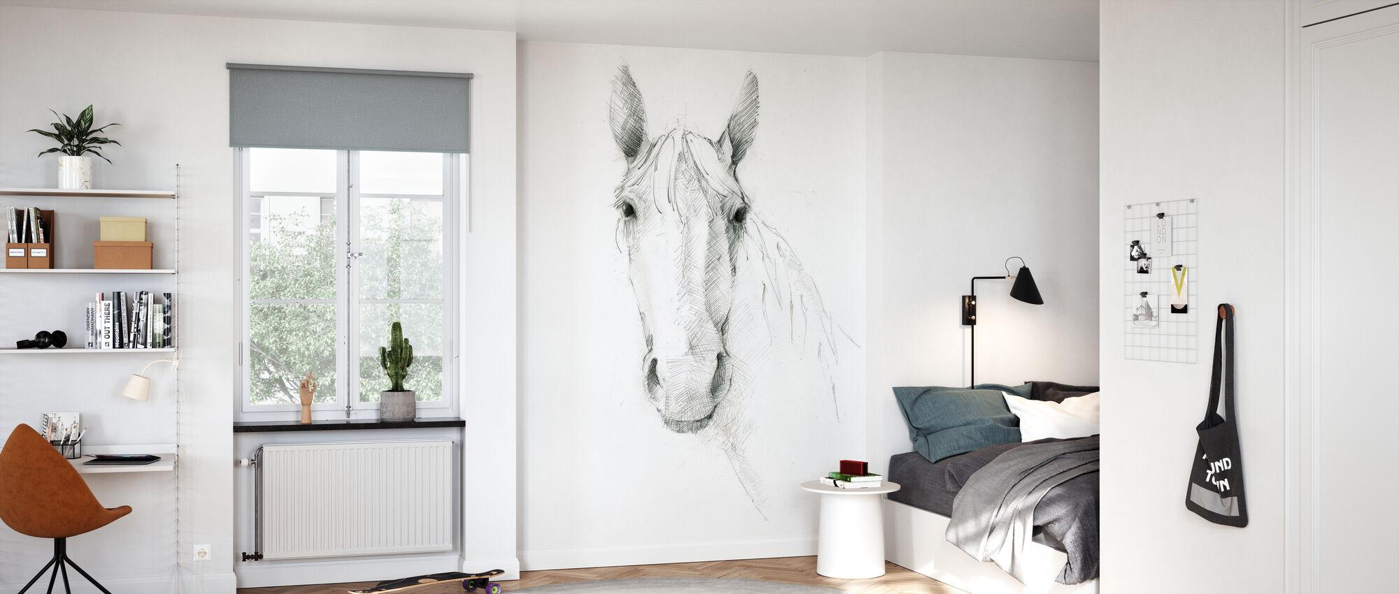 Horse Sketch - Wallpaper - Kids Room
