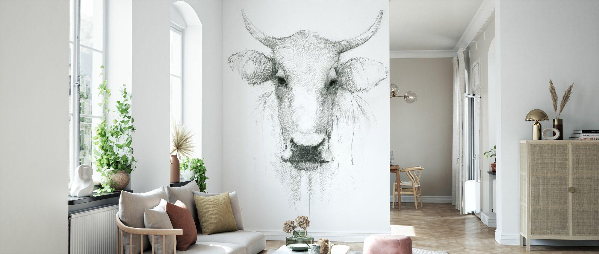 Cow Sketch - Wallpaper - Living Room