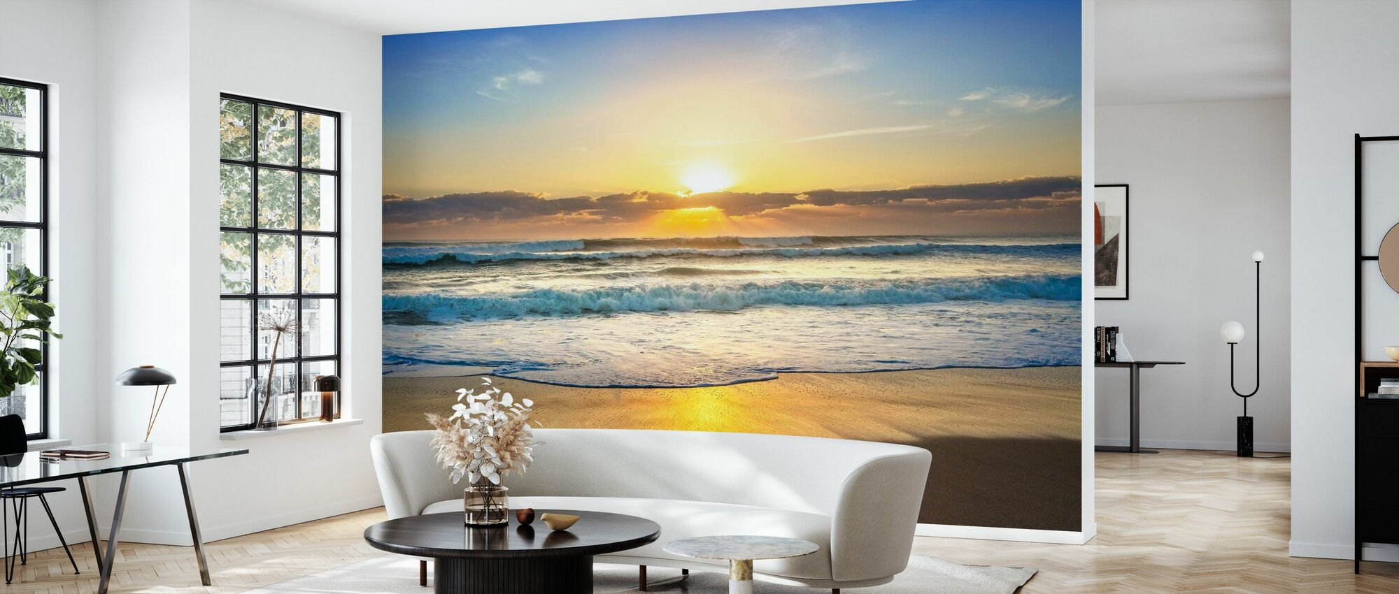 Waves Rolling in at Sunrise - Wallpaper - Living Room