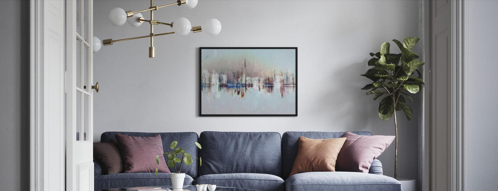 Pastellien kaupunki - Kehystetty kuva - Olohuone