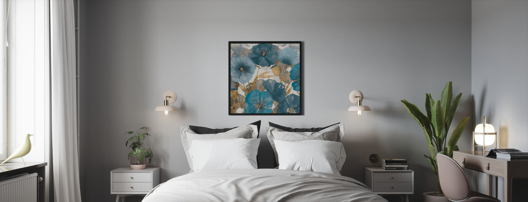 Blue and Gold Poppies - Poster - Bedroom