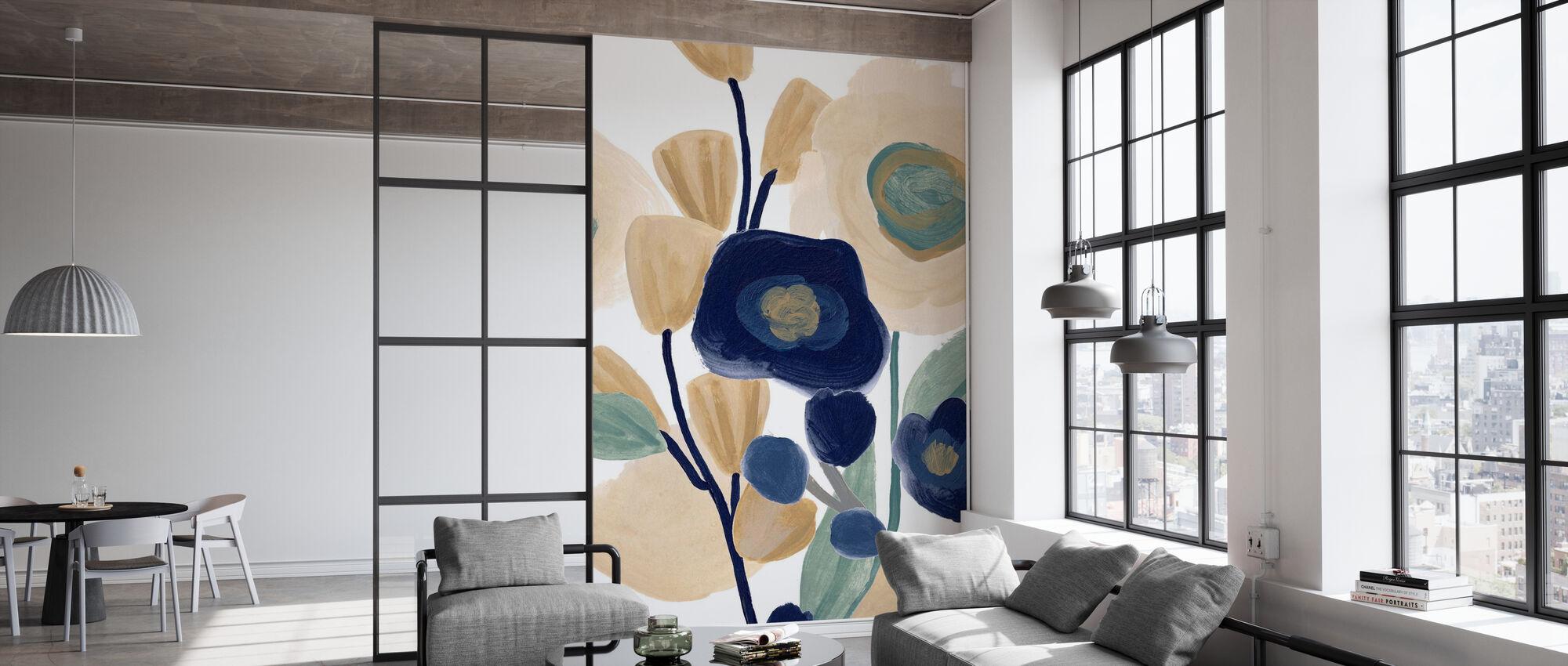 Blue Poppy Cascade - Wallpaper - Office