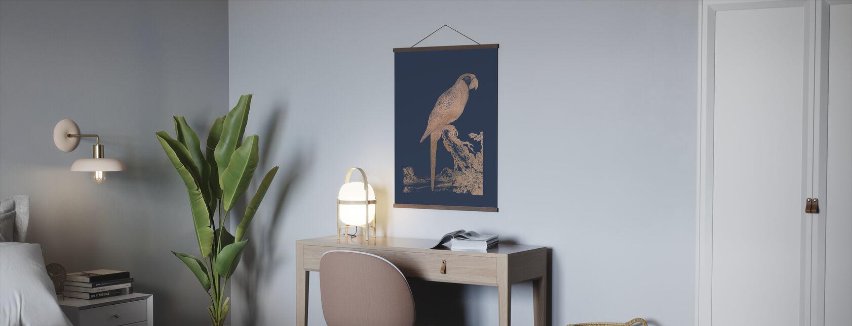 Rose Gold Foil Parrot I on Imperial Blue - Poster - Office