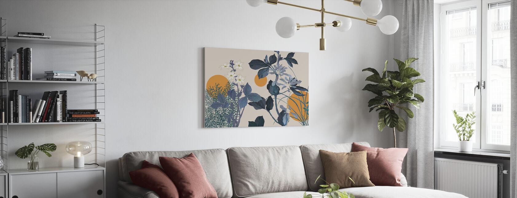 Flora Novel - Blauw - Canvas print - Woonkamer