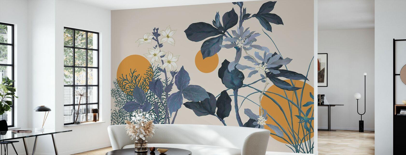 Flora Novel - Blauw - Behang - Woonkamer