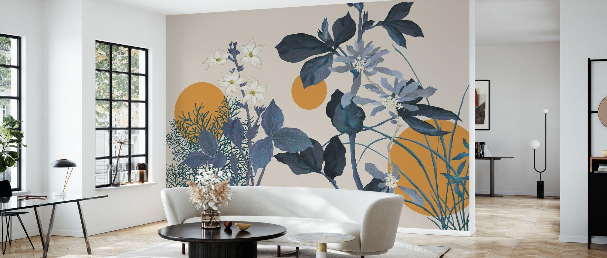 Flora Novel - Blue - Wallpaper - Living Room