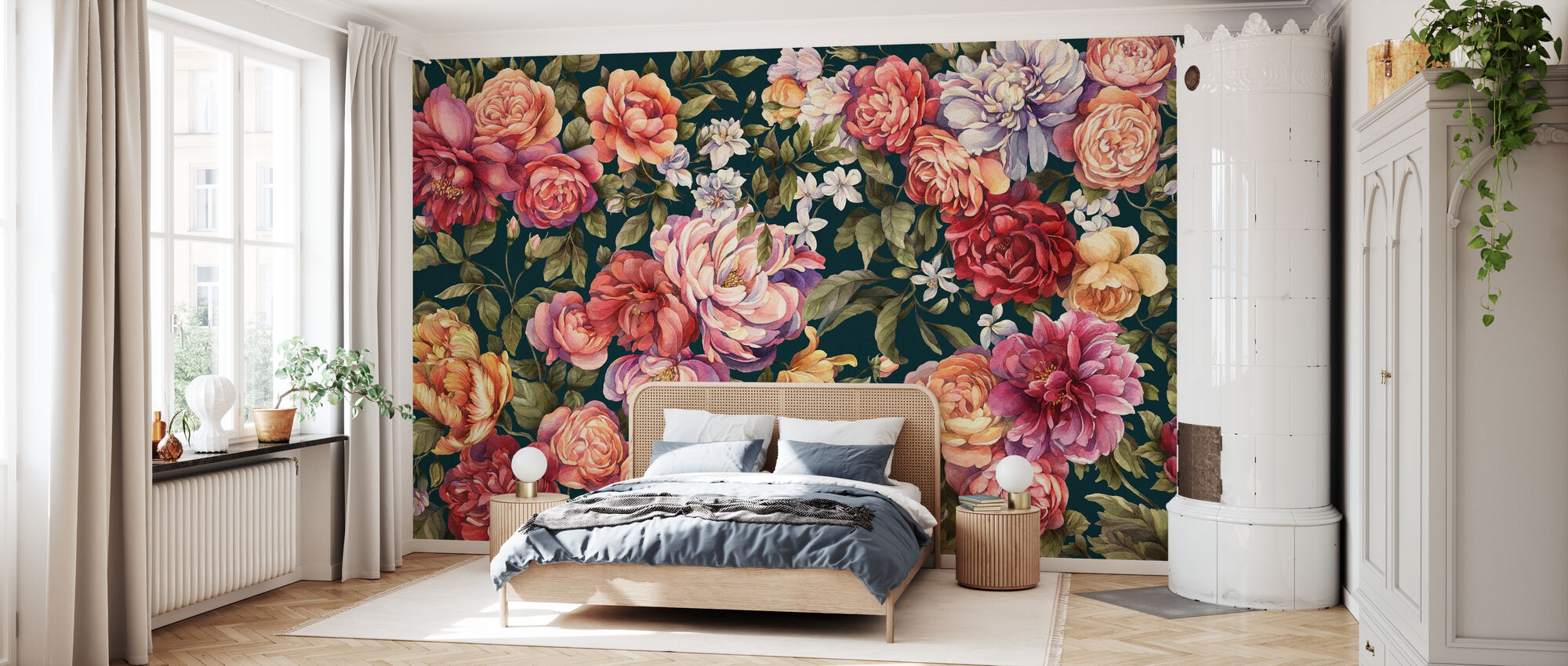 Floralia - Dark Blue - Wallpaper - Bedroom