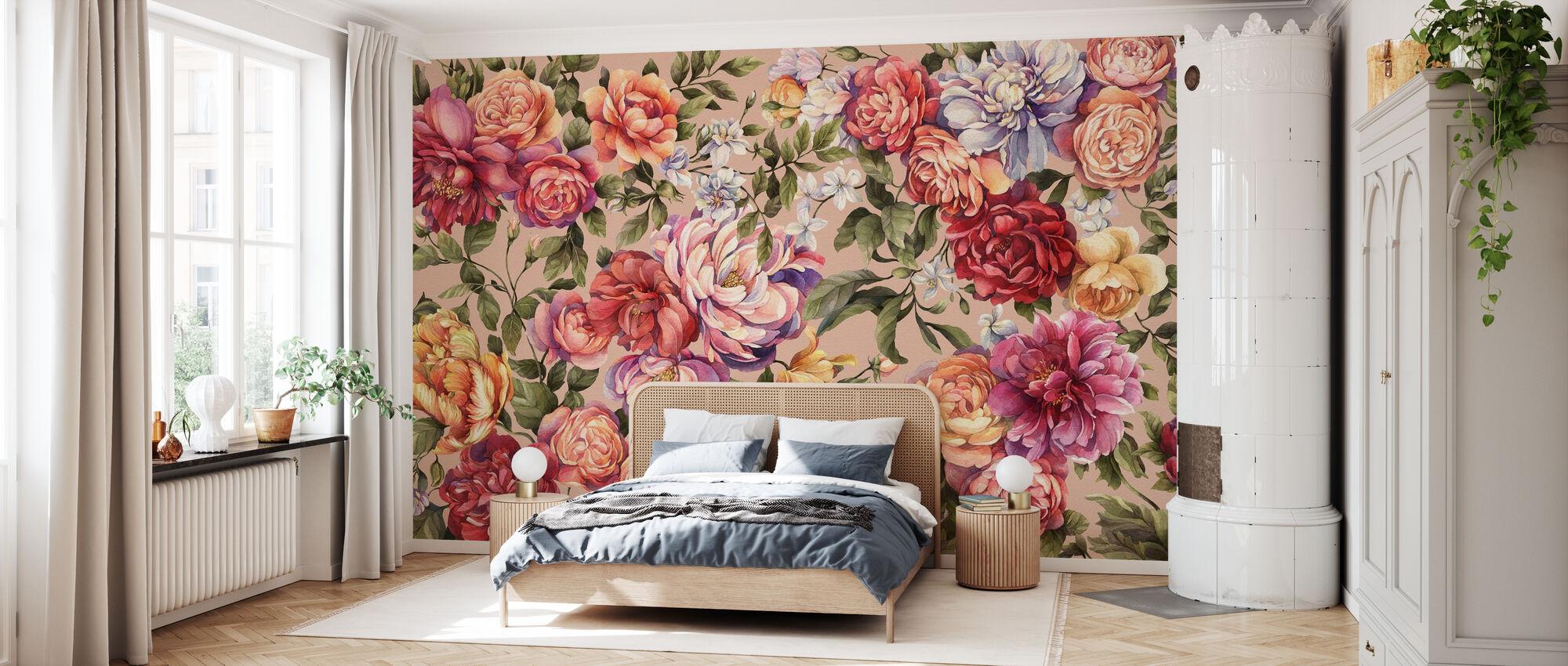 Floralia - Peach - Wallpaper - Bedroom